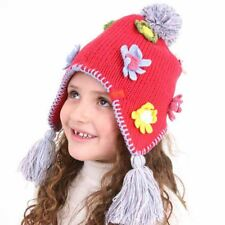 New Kids Girls Knitted Peru Style Warm Winter Hat With Flower Detail 3-5 Years