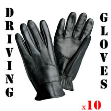 (10) Wholesale Mens Insulated Gloves Solid Genuine Leather Driving L-XL