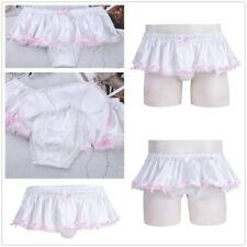 Sissy panties lace pouch sexy men underwear male thong Satin skirt thong ladyboy