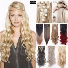 Extra THICK Clip In As Human Hair Extensions Full Head Lady 8 Piece Ombre Pink L