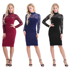 Women Lace Bodycon Long Sleeve Vintage Cocktail Evening Party Short Mini Dress