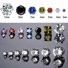 3-10mm 18K White Gold GP CZ Round Heart Ear Stud Earrings Men Women Jewelry Gift