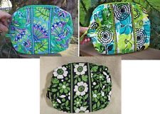VERA BRADLEY Large Cosmetic Bag Makeup College Emerald Paisley Limes Up Green