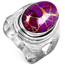 Solid 925 Sterling Silver Ring Genuine Purple Turquoise Gemstone Boho Wide Band