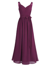Women's Wedding Bridesmaid Chiffon Evening Party Gown Cocktail Formal Long Dress