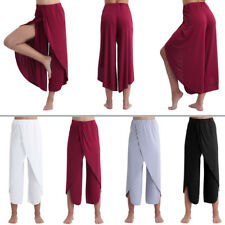 Womens Casual Comfy High Split Layered Wide Leg Flowy Yoga Cropped Pants Trouser