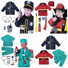 Police Officer Fire Chief Surgeon Kids Boys Role Play Costume Outfit Cosplay Set
