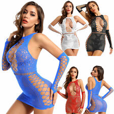 Women HOT Leather Mini Dress Latex Wet Look Bodycon Lingerie Mesh Skirt Clubwear
