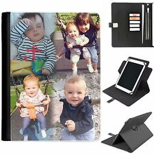 PERSONALISED UNIVERSAL PROTECTIVE TABLET LEATHER FLIP WALLET 360 SWIVEL CASE