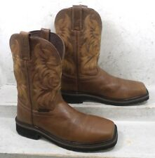 Justin Mens Handler Tan Leather Safety Toe Western Work Boots WK4824 size 9 EE