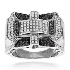Luxurman Sterling Silver Men's 1ct TDW White and Black Diamond Ring