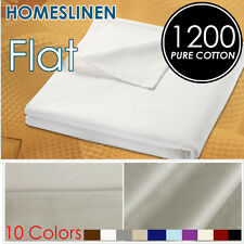 Pure Egyptian Cotton 1200TC King/Queen Size Bed Flat Top Sheet Bed Linen