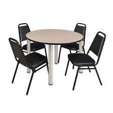 """Kee 48"""" Round Breakroom Table- Chrome & 4 Restaurant Stack Chairs- Black"""