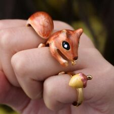 3Pcs/Set Lovely Gold Plated Animal Cat Squirrel Finger Open Rings Jewelry Gift