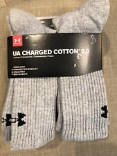 NEW Under Armour UA Charged Cotton 2.0 Crew 6pairs Socks
