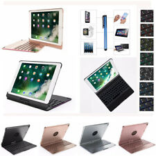 For iPad 360 Rotating 7 Colors Backlight Wireless Bluetooth Keyboard Case Cover