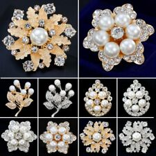 Chic Crystal Pearl Flower Drop Brooch Pin Women Jewelry Family Mother's Day Gift
