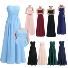 Women Long Chiffon Evening Formal Party Cocktail Bridesmaid Prom Peagent Dress