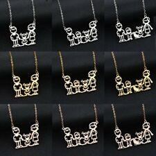 Fashion Family Dad Mom Girl/Boy Heart Lover Home Pendant Necklace Jewellery Gift