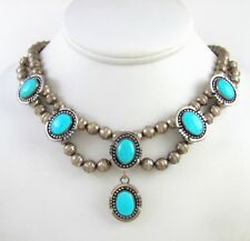 Gorgeous Navajo Ella Peters Sterling Silver & Turquoise Necklace │RS LX