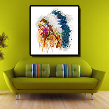 Native American Chief Watercolor Portrait Oil Painting Wall Art Decor Unframed