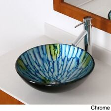 Elite Tempered Glass Vessel Hand-painting Technology Waterfall Faucet/ Sink
