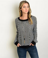 Boutique Cable Stitch Sweater Black White Long Sleeve Small Medium NWT F1