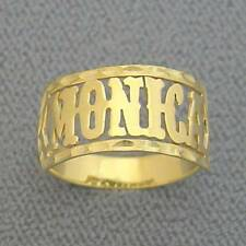 14K Solid Gold Personalized Western Style Font Name Band Ring Fine Jewelry NR04