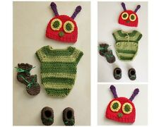 Very Hungry Caterpillar Handmade crochet outfit: Bodysuit, hat, booties & mitts