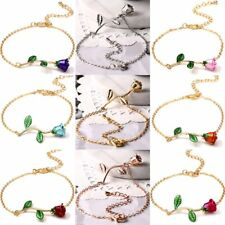 Elegant 18K Gold GP Rose Flower Bracelet Chain Bangle Women Costum Party Jewelry