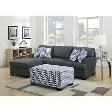 Marengo Grey Reversible Chaise Sectional and Ottoman