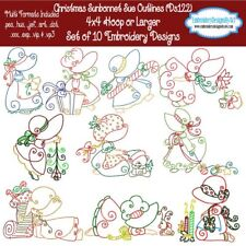 Christmas Sunbonnet Sue Outline Machine Embroidery Designs Set of 10 CD or USB