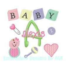 Baby Girl Machine Embroidery Monogram Alphabet Fonts Designs Set CD or USB