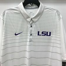 New Nike LSU Tigers Men's Dri-fit Polo Shirt Sewn-on Logo White Stripes Size XL