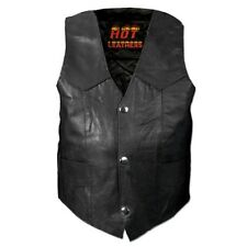 Motorcycle Youth Vest Solid Leather New Black S M L XL 2XL