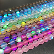 Round Matte Fiery Flash Shining Crystal Loose Strand Beads Jewelry Making 15""