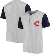 Cleveland Indians Majestic Cooperstown Collection Pinstripe Henley T-Shirt -