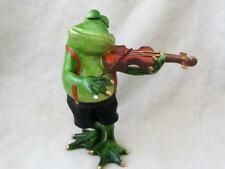GREEN FROG VIOLIN MUSICIAN  ADORABLE RESIN Whimsical Sculpture FREE SHIPPING