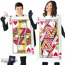 Adults Couples King Queen Hearts Playing Card Casino Fancy Dress Costume Outfit