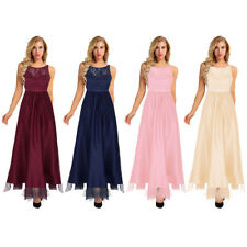 Womens Long Lace Tulle Bridesmaid Prom Dress Maxi Formal Evening Gown Dresses