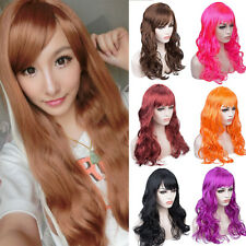 Fancy Dress Women Long Curly Wavy Straight Wig Bright Brown Blonde Auburn Wigs D