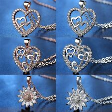 Women Zircon Crystal Heart Pendant Necklace Charm Jewelry Gifts Party Wedding