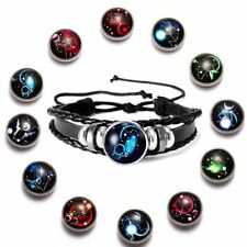 Fashion Leather Bracelet 12 Constellations Pattern Men Women Bangle Punk Jewelry