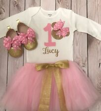 First birthday outfit girl light , minnie mouse shoes, Minnie Mouse birthday out