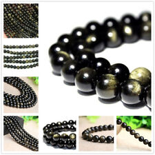 4mm 6mm 8mm 10mm 12mm Natural Gold Obsidian Gemstones Round Loose Beads 15'' AAA