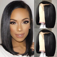 Lace Front Wig Virgin Brazilian Human Hair BOB Full Wig Straight Pre Plucked RT#