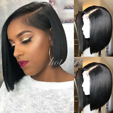 Short Straight Black Human Hair Bob Wig Full Head Lace Front Wigs Remy Indian 1B