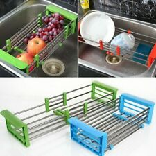 Adjustable Stainless Steel Telescopic Kitchen Over Sink Dish Drying Rack Storage