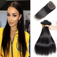 Brazilian Silky Straight Bundles With Lace Closure Virgin Human Hair Unprocessed