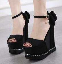 Women Black Platform Peep Toe Sandals Ankle Strap Bowknot High Wedge Heels Shoes